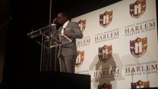 diddy speaks before ribbon cutting at harlem charter school