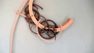 Crescent Wooden Gear Clock