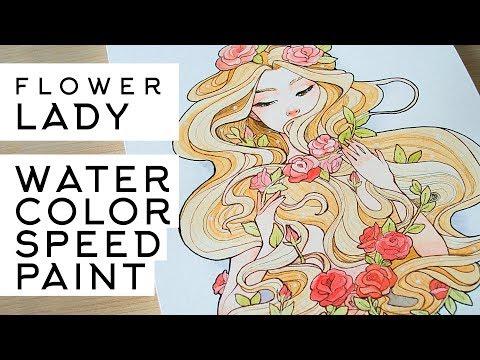 Watercolor Speedpaint Flower Girl