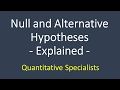 Hypothesis Testing - Introductory Statistics; null hypothesis; alternative hypothesis