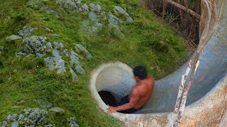 Build Secret Temple Tunnel Underground House And Water Slide To Tunnel Swimming Pool