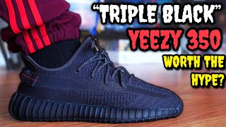WORTH THE HYPE!? TRIPLE BLACK ADIDAS YEEZY BOOST 350 V2 ON FEET REVIEW!