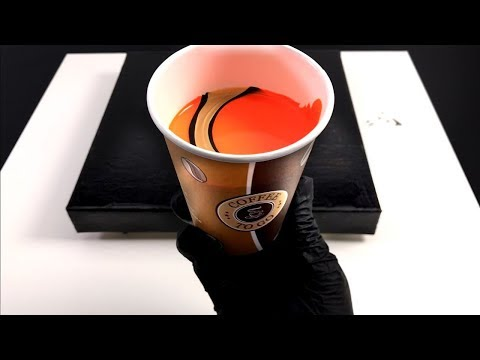Acrylic pour painting with three colors - reflex orange - black and gold- easy for pouring beginner