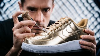 Making Diamond Cuban Chain Lace Locks For Gold Nike Air Force 1's