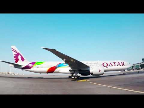 Qatar Airways' Boeing 777 featuring the hand-painted FIFA livery