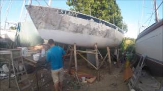 Sailboat Refit part 5 painting the boats side