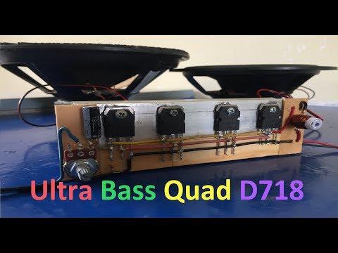 Extreme Powerful Bass Amplifier With Quad D718 Transistors #QuadTransD718