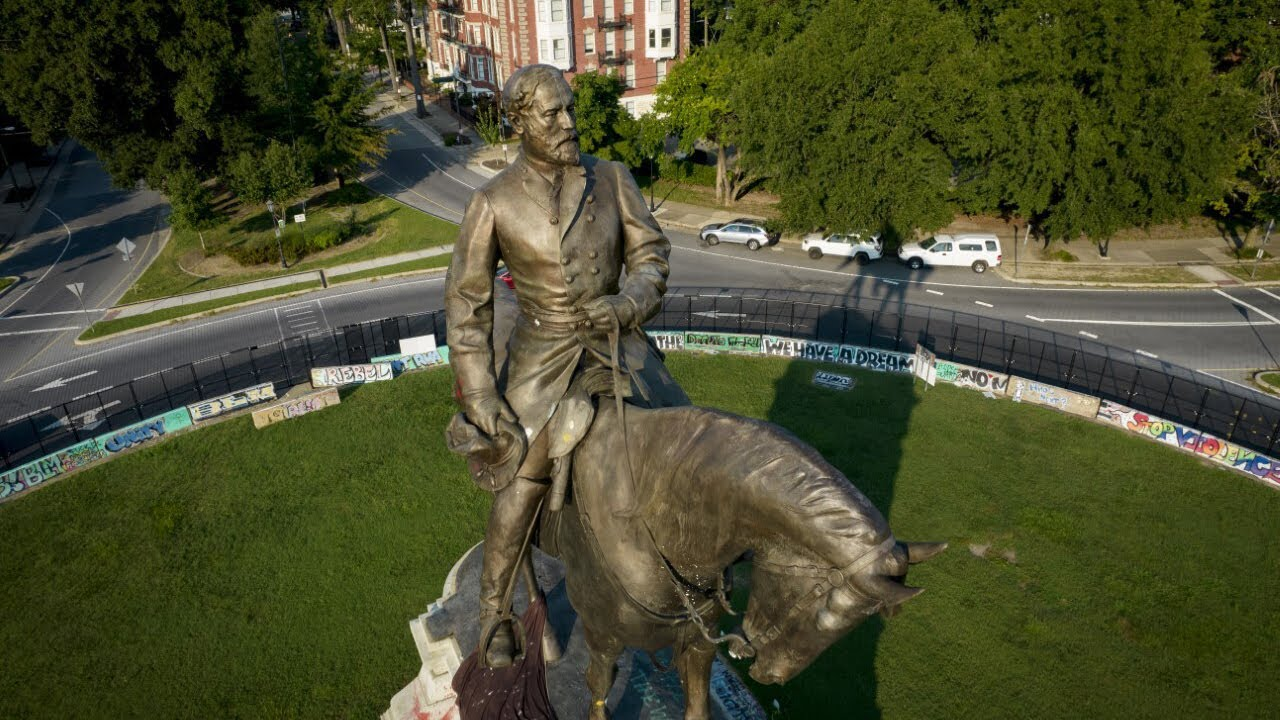 Statue Of Confederate Robert E. Lee Comes Down In Virginia