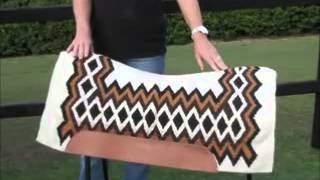 Contoured Cream Brown Thick Western NZ Wool Saddle Pad