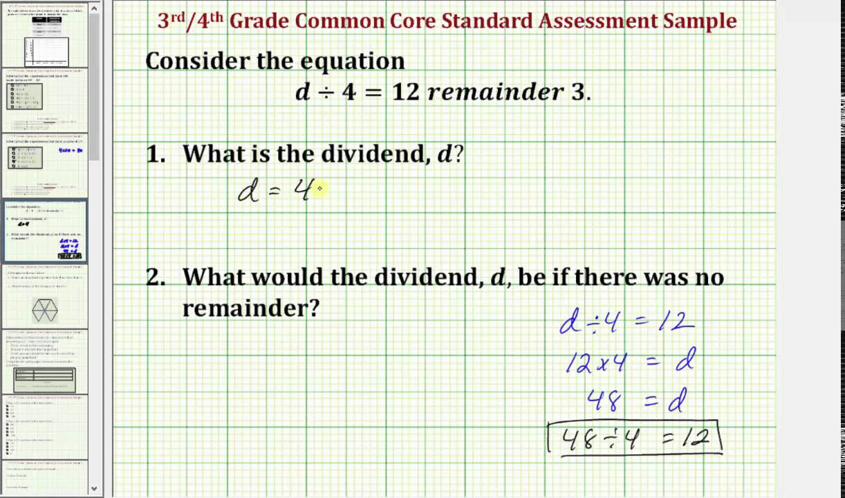 Find A Dividend Given Division Equation With Remainder Common Core 3 4 Math Ex