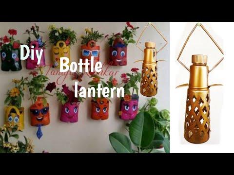 Diy: Hanging decor for Balcony using plastic bottle/easy lantern making idea using plastic bottle
