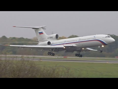 TWO Russian Air Force Tupolev 154M landing & takeoff at Geneva/GVA/LSGG
