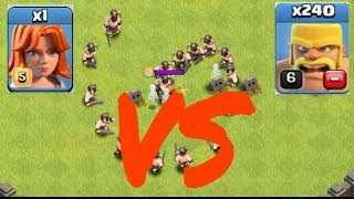 Clash of Clans - 240 BARBARIAN Vs 1 VALKYRIE!!! Glitch?!? (CoC Troll Raids) COC TROOPS BATTLE!