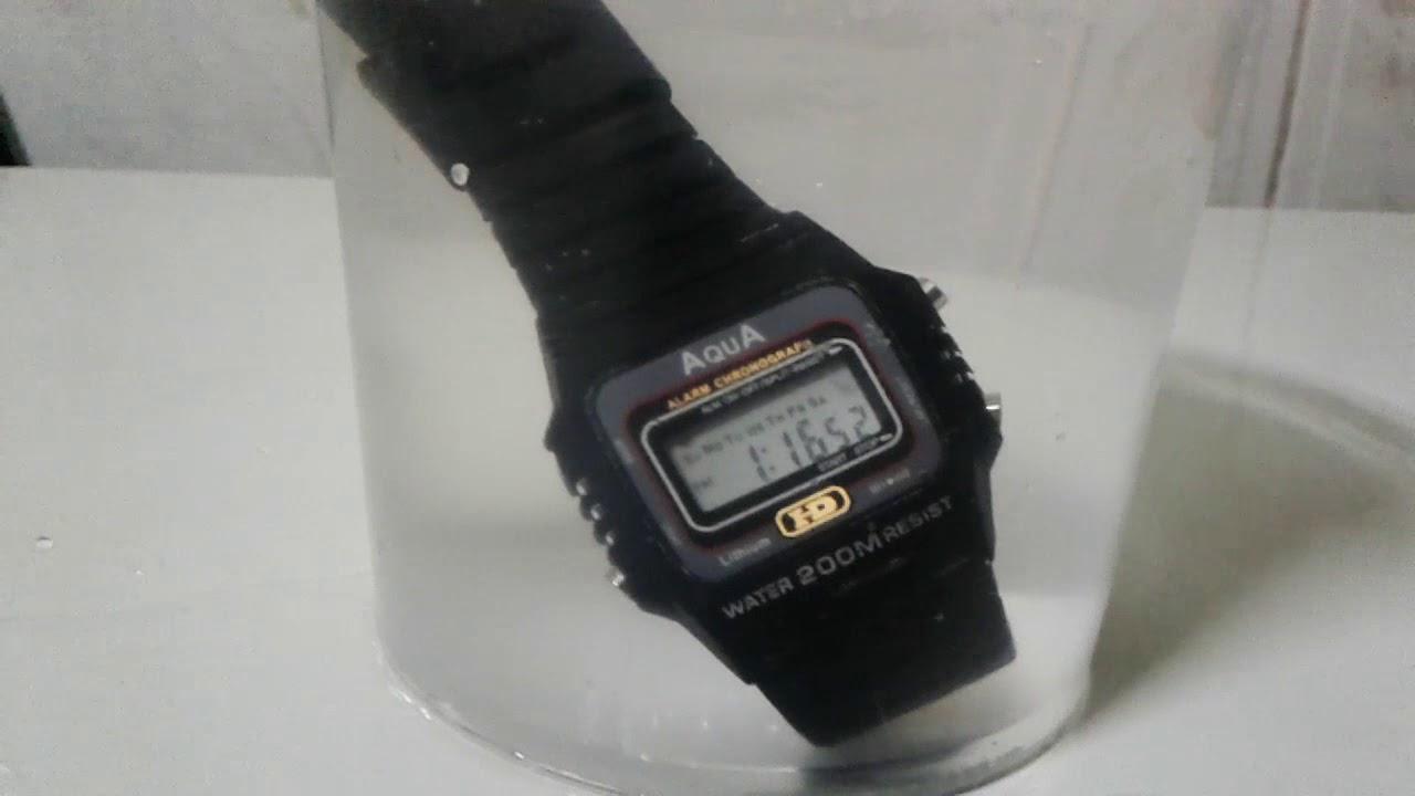 437c0108cd3 Relógio AquA - funções e testando se ele é mesmo a prova d água (unboxing)