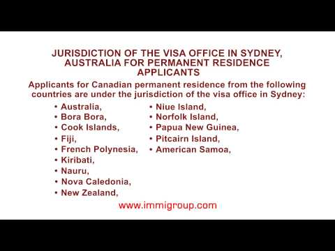 Jurisdiction of the visa office in Sydney, Australia for permanent residence applicants