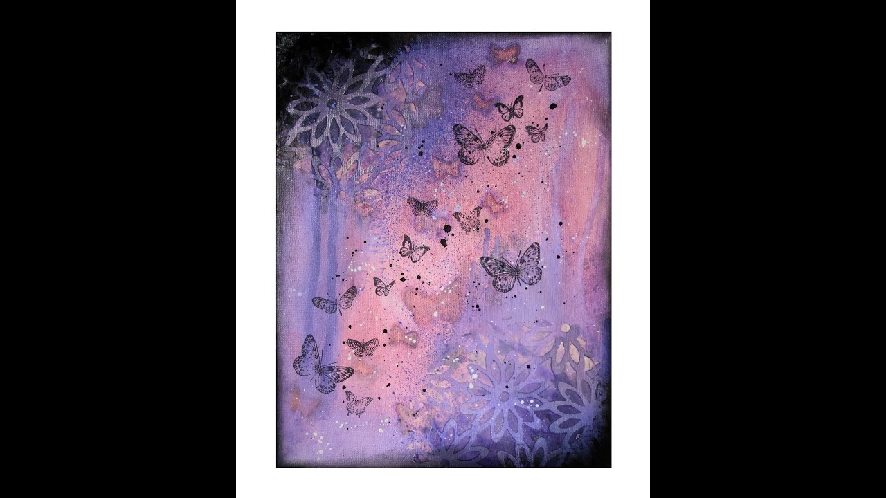 peinture sur toile butterflies youtube. Black Bedroom Furniture Sets. Home Design Ideas