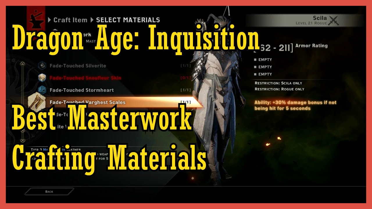 Best Fade-Touched Masterwork Materials | Dragon Inquisition