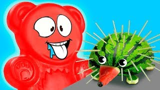 WATERMELON HEDGEHOG OR JELLY GUMMY BEAR'S FRUIT ADVENTURES Video