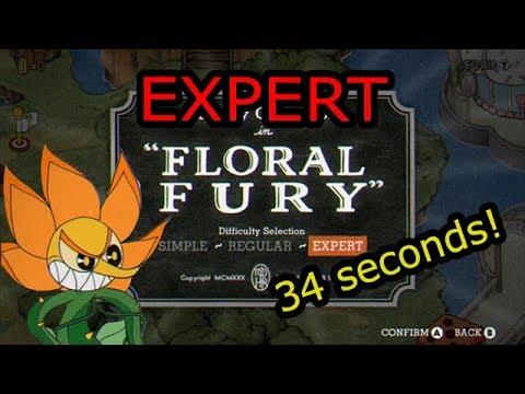Cuphead Expert Speedrun - Floral Fury (0:34)