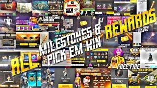 ALL MILESTONES REWARDS | ALL PICK'N WIN CHALLENGE REWARDS | ALL REDEEM CODE REWARDS FREE FIRE || TSK