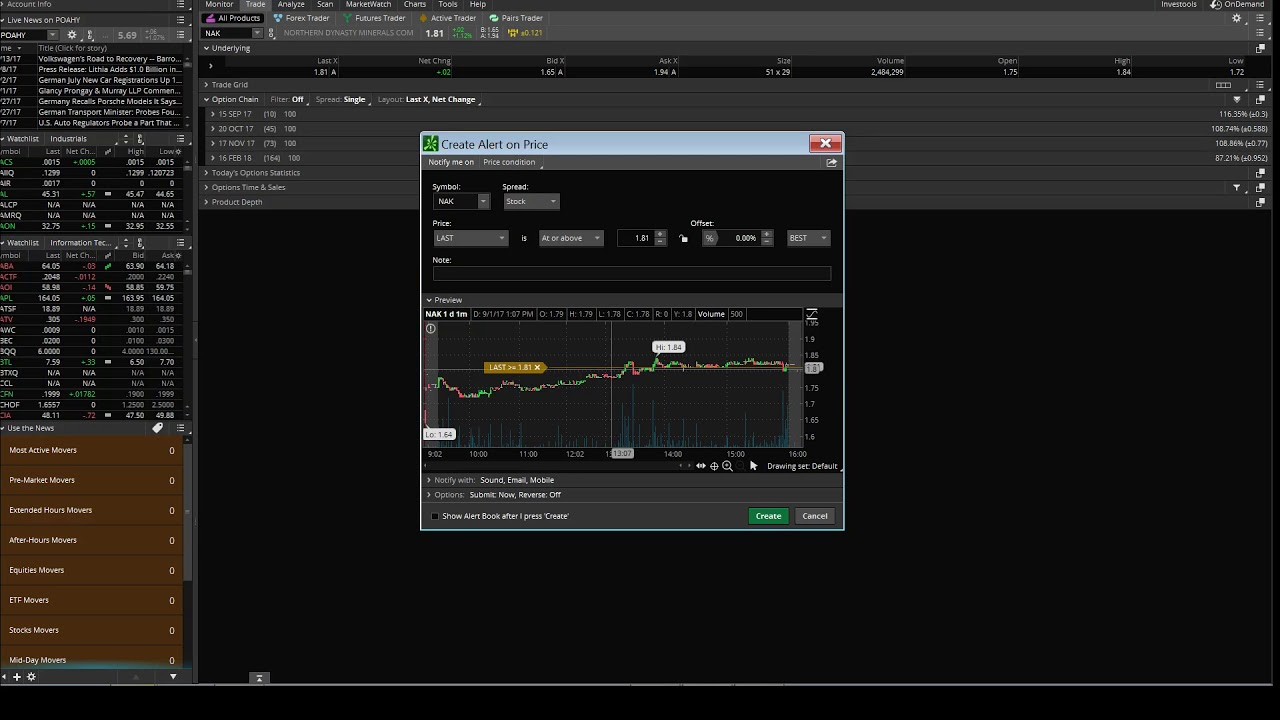 Think or Swim TOS OCO Bracket Orders : How to setup Automation Autopilot on TD Ameritrade