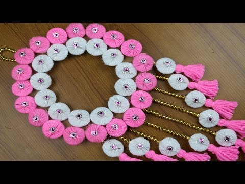 How to Make Woolen Door Hanging Toran    Best reuse ideas - Best out of waste - Woolen Craft ideas