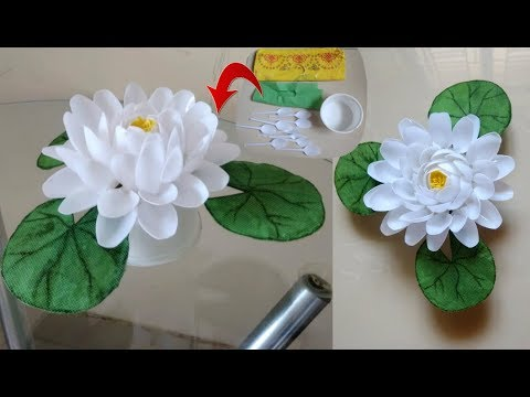 DIY Lotus Flower/Waste Material Reuse Idea/Plastic Spoon Cra