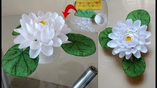 DIY Lotus Flower/Waste Material Reuse Idea/Plastic Spoon Craft Idea/Best Out of Waste Ideas