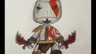 How to draw Kratos Sackboy - Little big planet