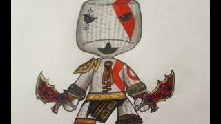 How to draw Kratos Sackboy - Little big planet