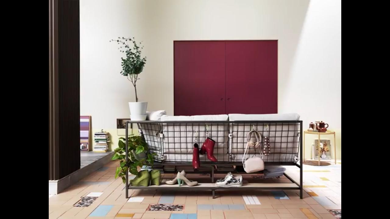 Corner Shelf For Living Room Modern Black Leather Sectional Furniture Ekebol Sofa - Youtube