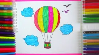 How To Draw Hot Air Balloon | Parachute Drawing Ideas for Kids with Rainbow Colors