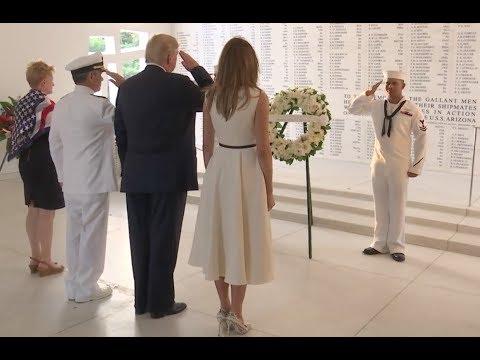 Trumps Visit USS Arizona Memorial, Pearl Harbor, Hawaii