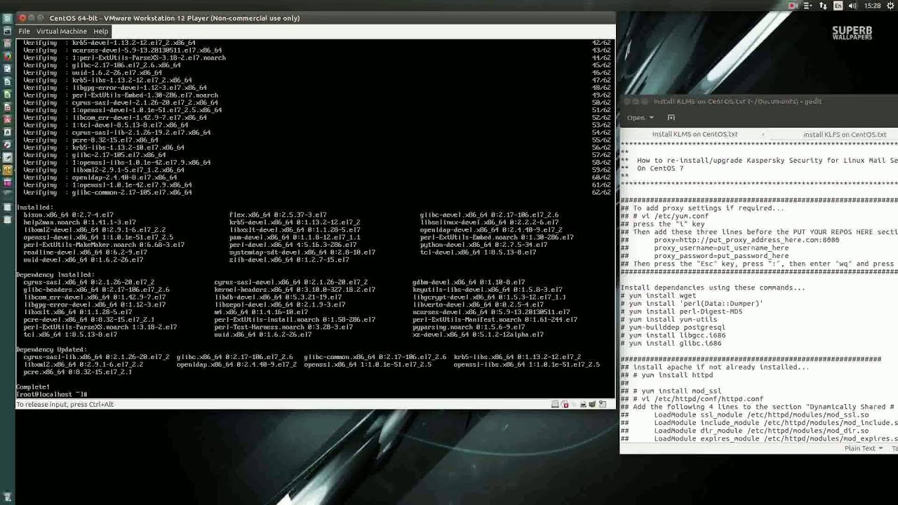 Installing CentOS 7 + Kaspersky Mail Security and File Server security