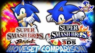 SC: Sonic in Smash Bros. 4 - 3DS & Brawl Moveset Comparison