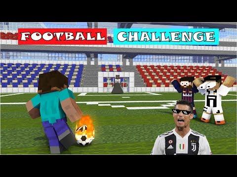 Monster School : FOOTBALL CHALLENGE (Herobrine VS Ronaldo & Leo Messi) - Minecraft Animation
