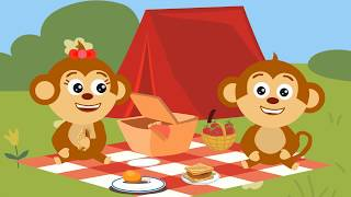 Funny Monkeys Family clean the polluted forest from garbage
