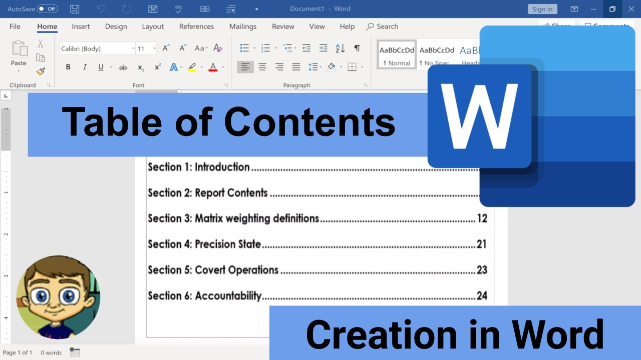 Creating a Table of Contents in Microsoft Word