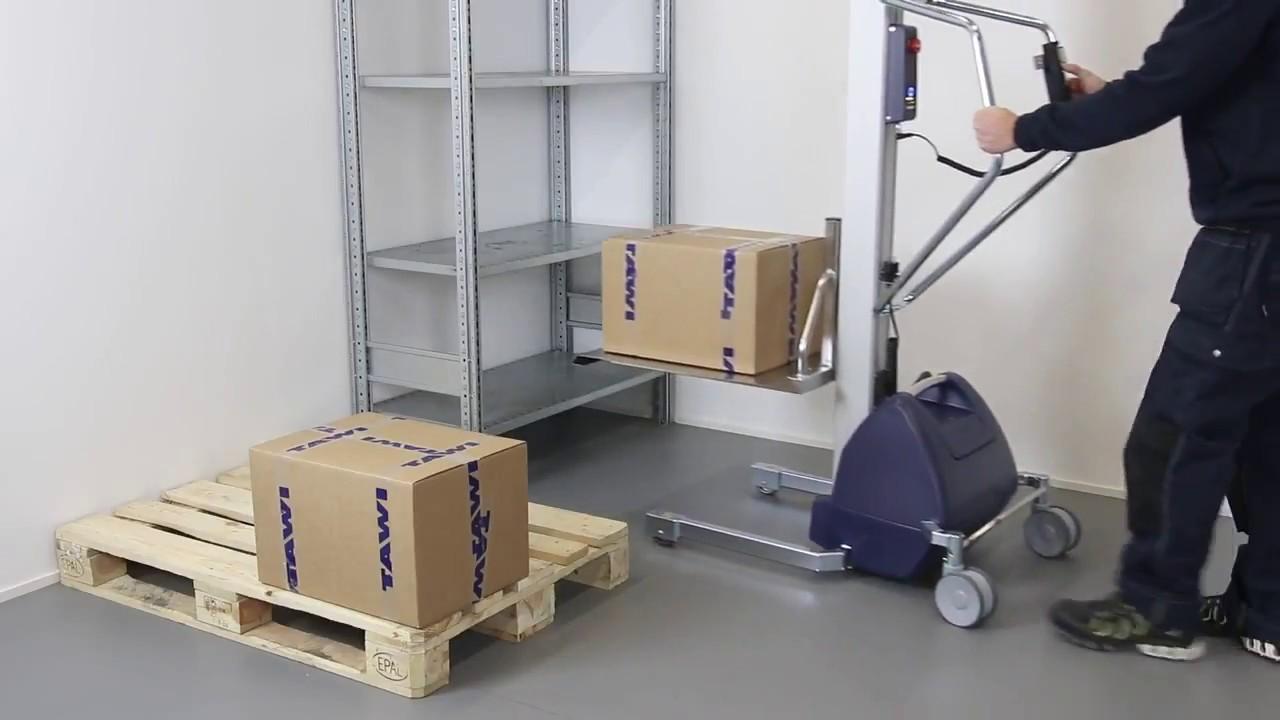 Carretilla elevadora eléctrica con plataforma para cajas
