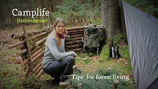 Winter overnighter in the forest - living with and in nature - documentary - Vanessa Blank - 4K