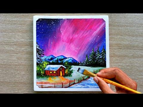 Acrylic Painting on Canvas #11|Snow Night|Satisfying Step by Step|Painting ASMR | Landscape Painting
