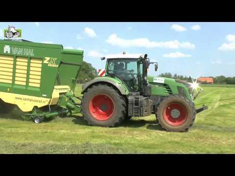 Gras oogst bij loonbedrijf van Hal uit Voorst met Fendt en Krone Trekkerweb