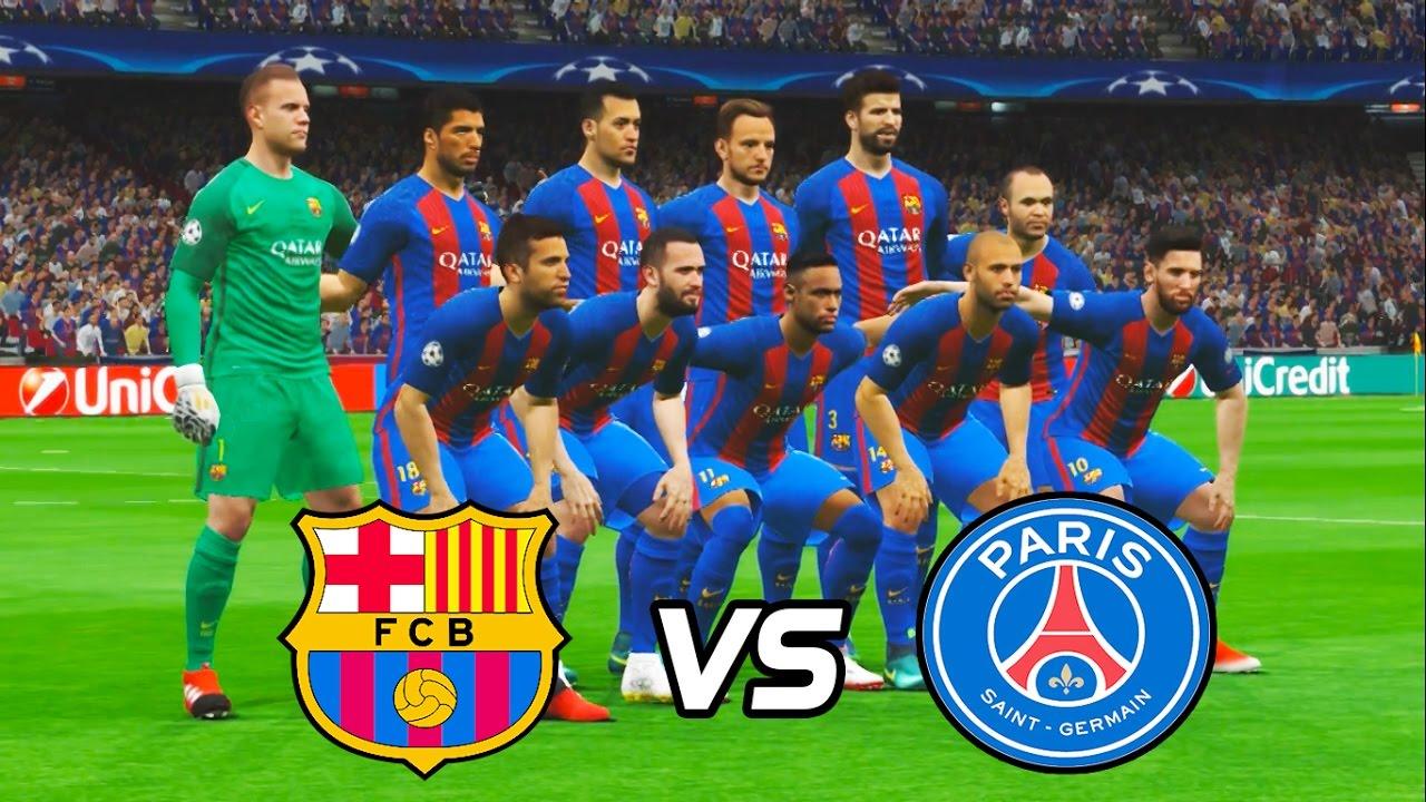 UCL | BARCELONA VS PSG | PES 2017 | FULL MATCH | HD - YouTube