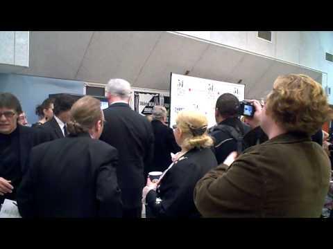 Ross greets Greg Jbara in Press Room.AVI