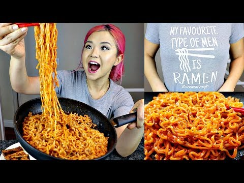 NUCLEAR EXTREME SPICY Fire Noodle Challenge (2 PACKS) // VEGAN