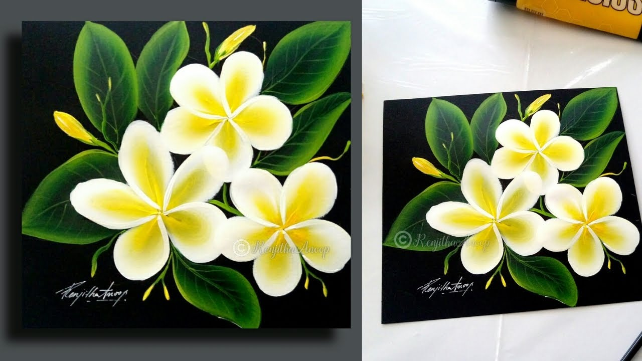 Easy Plumeria Flower Acrylic Painting For Beginners Slow Video Demonstration Painting Lessons Youtube