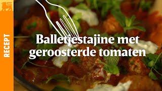 Balletjestajine met geroosterde tomaten