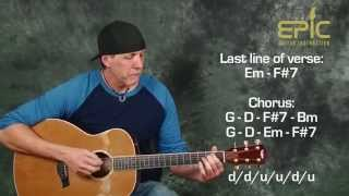 Learn acoustic song Eagles Hotel California beginner guitar lesson strumming version with chords