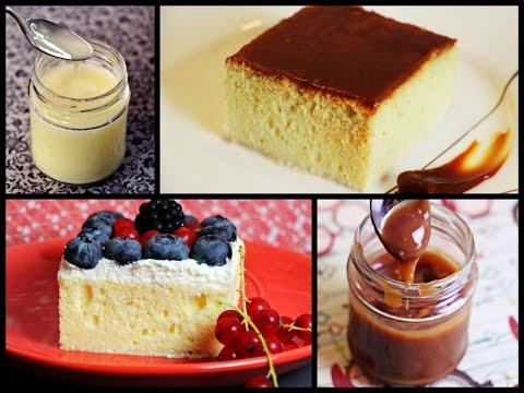 Nasser Milchkuchen mit Karamellcreme oder Sahne und Früchten/ Pastel de tres leches/ Trileçe Tatlısı