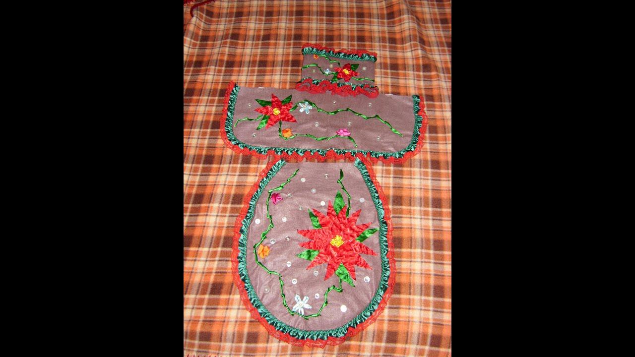 Juegos De Baño De Navidad:DIY Juego de baño bordado en listón para esta Navidad 4 de 4